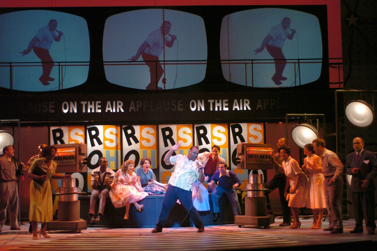 James Monroe Iglehart (center) and the company of the 2004 TheatreWorks Silicon Valley production of <i>Memphis</i>.