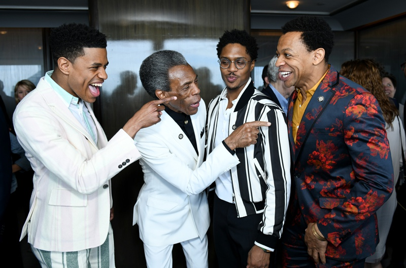 Nominees Jeremy Pope, André De Shields, Ephraim Sykes, Derrick Baskin at the 2019 Tony Nominees Luncheon.