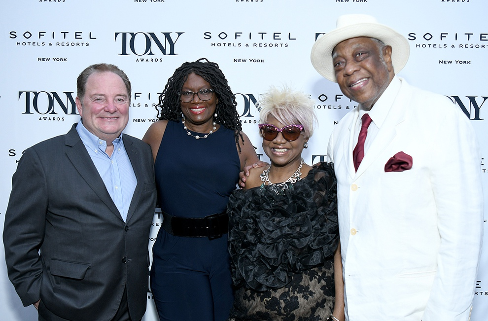 Tony Honor recipients Fred Gallo, Beverly Jenkins, Irene Gandy, and New Federal Theatre founder Woodie King Jr