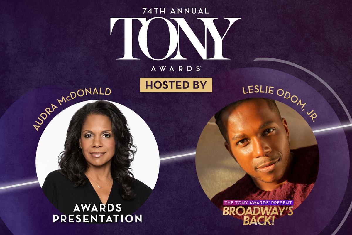 Audra McDonald and Leslie Odom Jr. will host the 74th Annual Tony Awards on Sunday, September 26, 2021