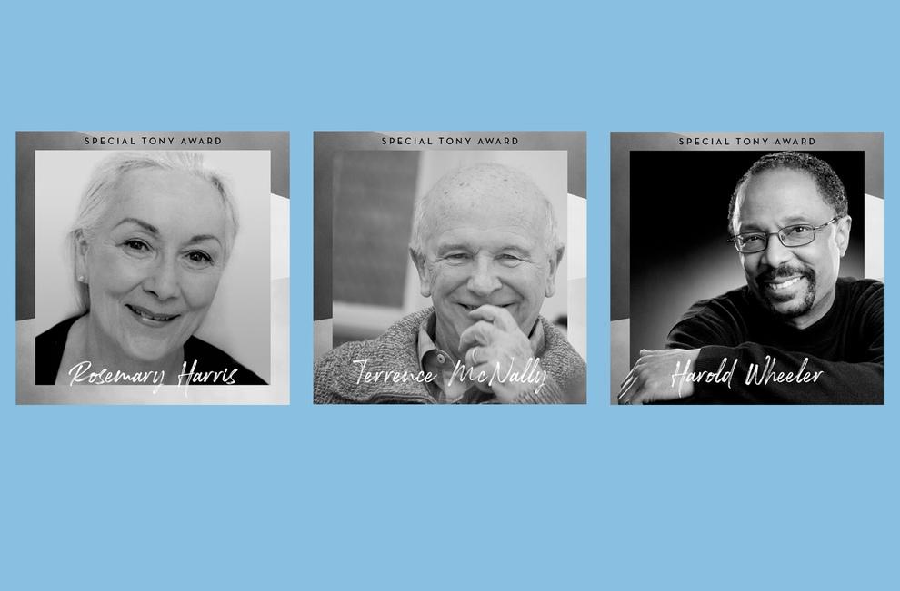 Rosemary Harris, Terrence McNally, and Harold Wheeler (l, to r.)
