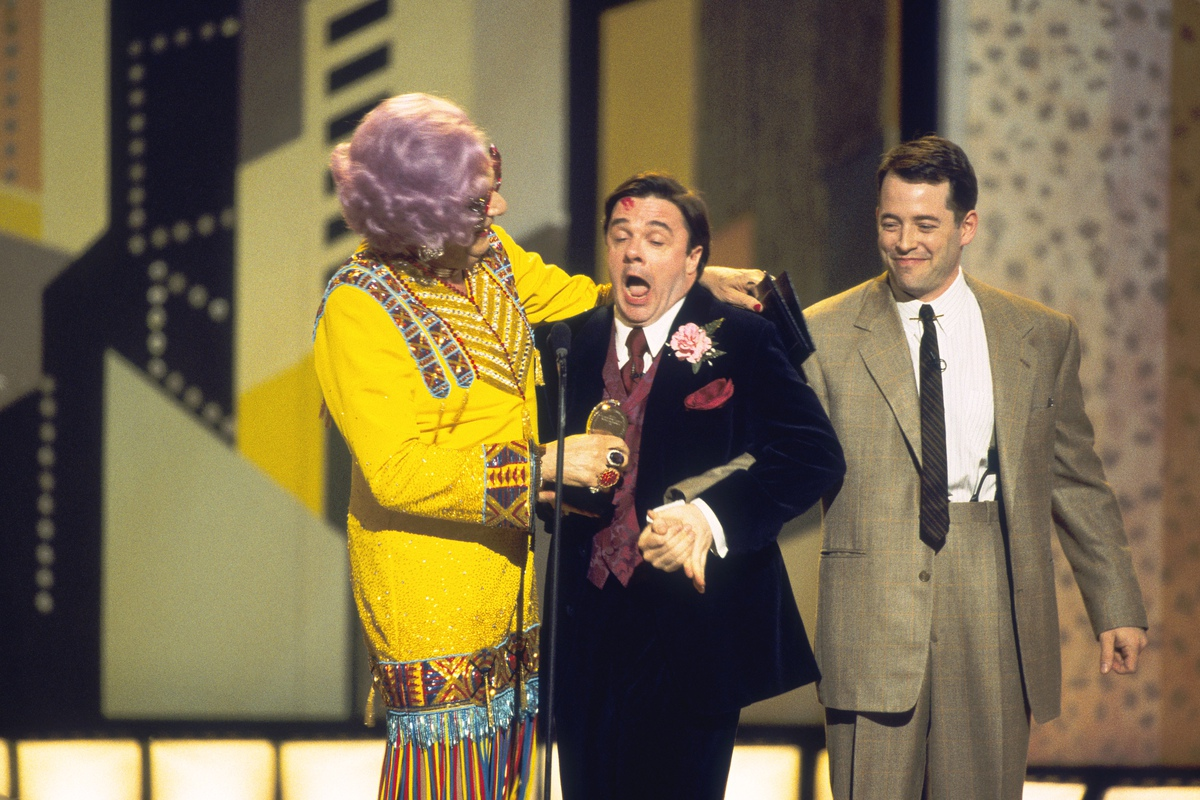 Dame Edna, Nathan Lane, and Matthew Broderick (left to right) at the 2001 Tony Awards.