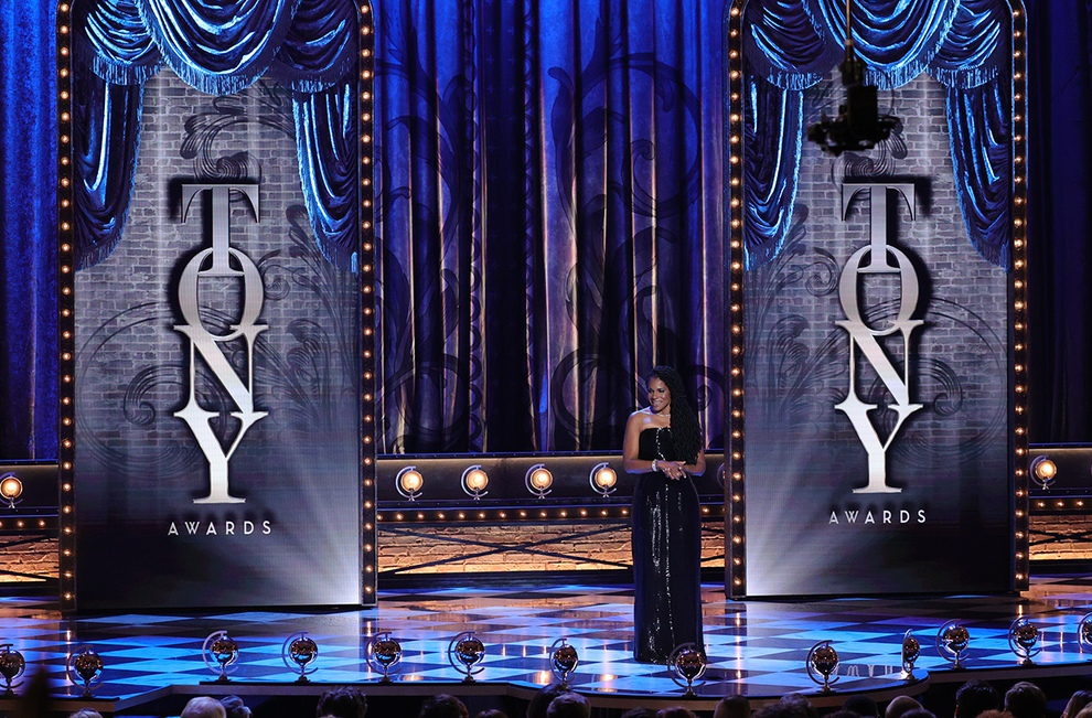 Host Audra McDonald on stage at the 74th Annual Tony Awards on September 26, 2021.