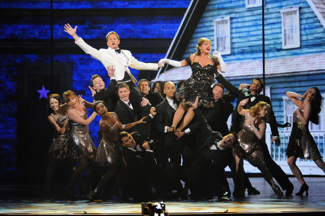 Host Neil Patrick Harris and Patti LuPone perform at the 2012 Tony Awards.