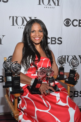 Audra McDonald backstage at the Tony Awards in 2014 when she won her sixth Tony.