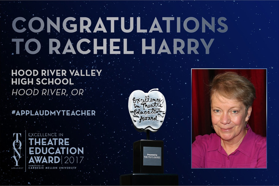 Congratulations to Rachel Harry of Hood River Valley High School in Hood River, OR, winner of the 2017 Excellence in Theatre Education Award, presented by the Tony Awards and Carnegie Mellon University.