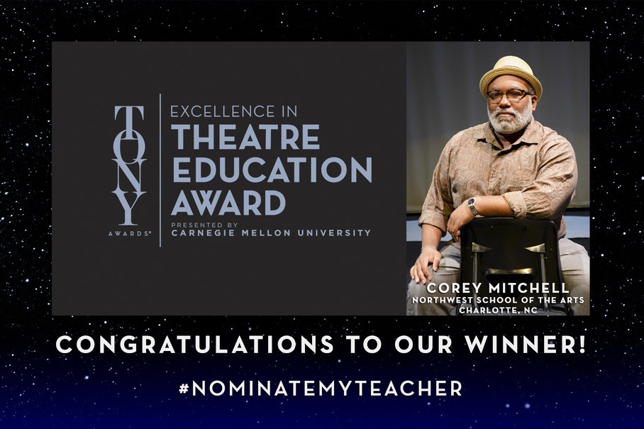 Corey Mitchell of Northwest School of the Arts in Charlotte, North Carolina, winner of the first Excellence in Theatre Education Award, presented by Carnegie Mellon University and the Tony Awards.