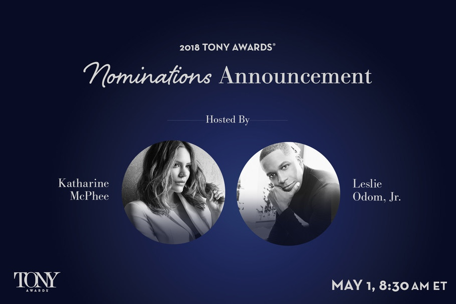 Katharine McPhee and Leslie Odom, Jr. will deliver the 2018 Tony Awards Nominations Announcement on May 1, 2018 at 8:30am ET via Facebook.com/TheTonyAwards and TonyAwards.com. The event is sponsored by IBM.