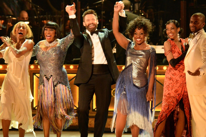 Host Hugh Jackman and the cast of 'After Midnight' perform onstage during the 2014 Tony Awards.