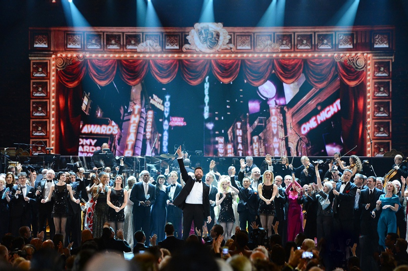 Host Hugh Jackman (center) and company performing at the 2014 Tony Awards.