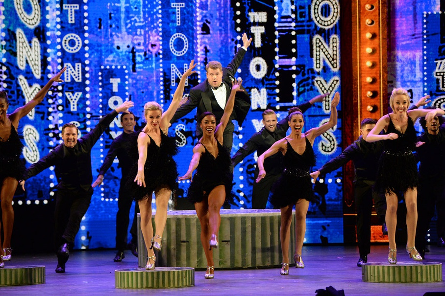 James Corden performs onstage during the opening number of the 70th Annual Tony Awards at The Beacon Theatre.