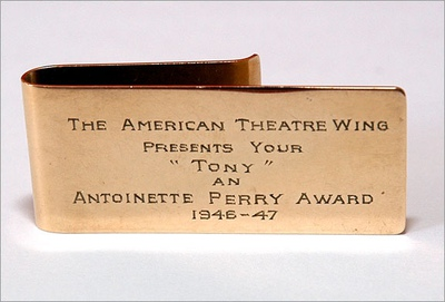 A money clip, which represented the Tony Award (for men) in 1947.