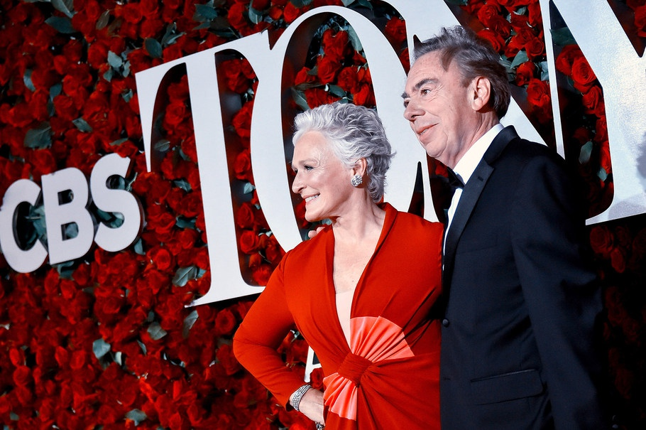 Glenn Close (left) and Andrew Lloyd Webber on the Red Carpet at teh 2016 Tony Awards.