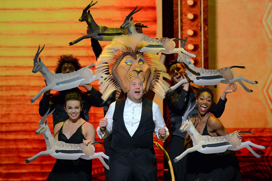 Host James Corden performs onstage at the 2016 Tony Awards.