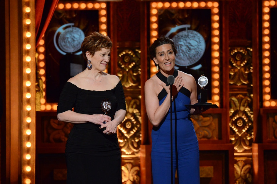 Lisa Kron (L) and Jeanine Tesori at the 2015 Tony Awards.