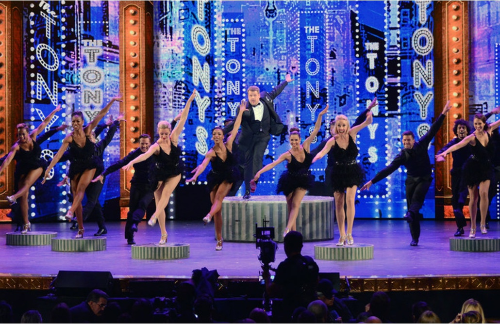 Host James Corden (center) performing at the 2016 Tony Awards.