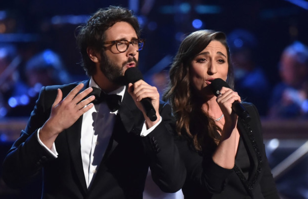 Hosts Sara Bareilles and Josh Groban performing during the 2018 Tony Awards ceremony.
