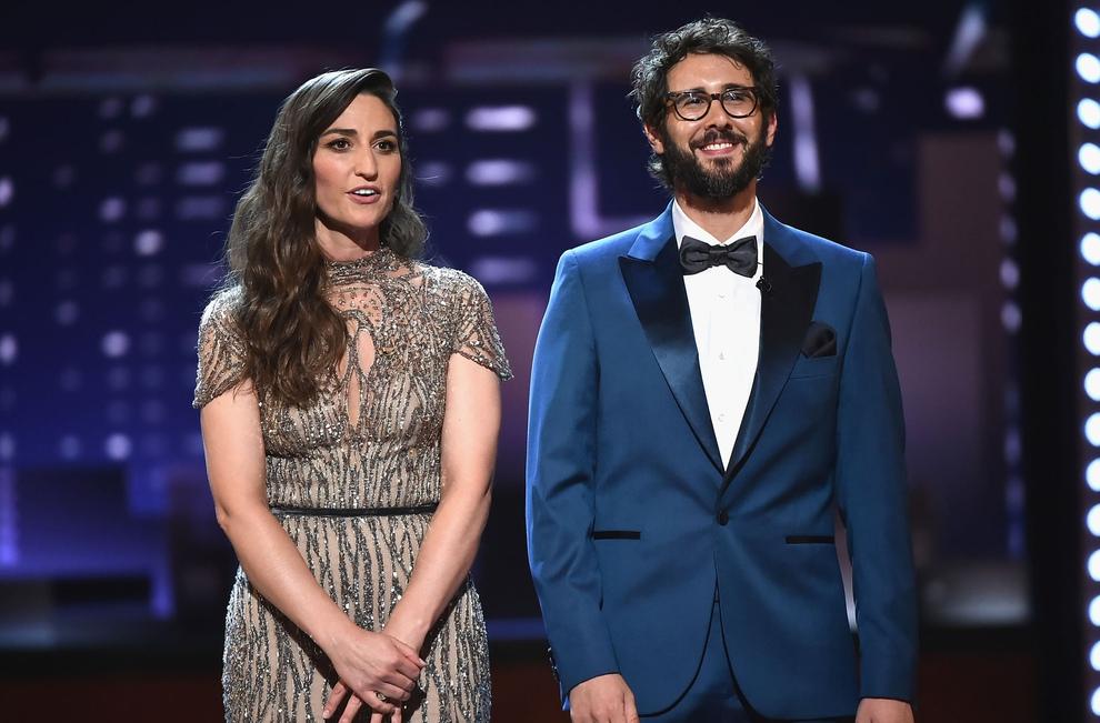 Hosts Sara Bareilles and Josh Groban at the 2018 Tony Awards